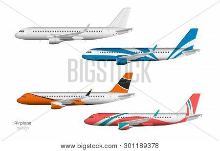 Airplane Design. Side View Of Plane. Aircraft 3d Template. Jet Mockup In Realistic Style. Isolated I