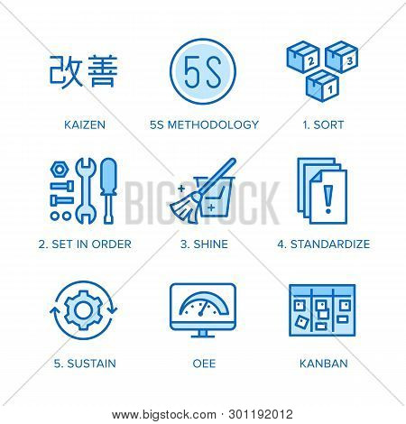 Kaizen, 5s Methodology Flat Line Icons Set. Japanese Business Strategy, Kanban Method Vector Illustr