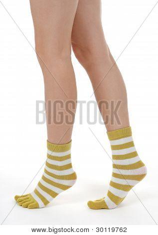 Elegant Female Legs In Striped Socks