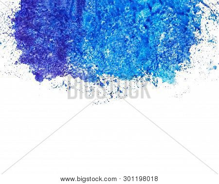Watercolor Ultramarine Blue Spot At The Top, Below The Place For Text, Copy Space