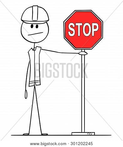 Cartoon Stick Figure Drawing Conceptual Illustration Of Construction Worker With Hard Hat Holding Re