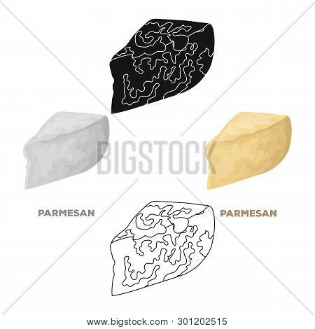Parmesan.different Kinds Of Cheese Single Icon In Cartoon, Black Style Vector Symbol Stock Illustrat