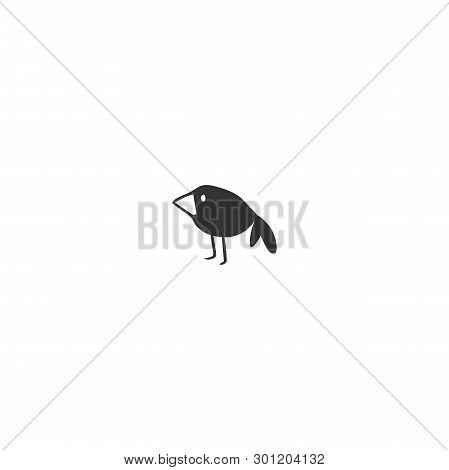 Vector Hand Drawn Icon. Black Bird, Crow, Symbol Of Wisdom And Curiosity.