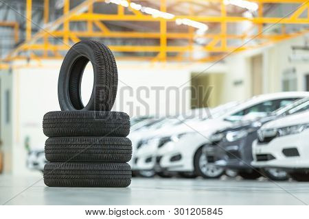 Spare Tire Car, Seasonal Tire Change, Car Maintenance And Service Center. Vehicle Tire Repair And Re