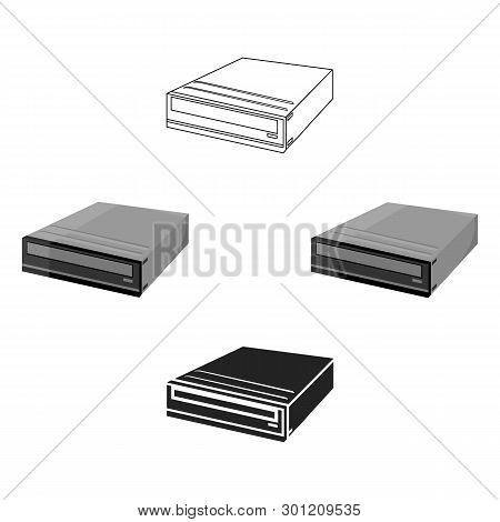 Cd-rom Icon In Cartoon, Black Style Isolated On White Background. Personal Computer Symbol Stock Vec