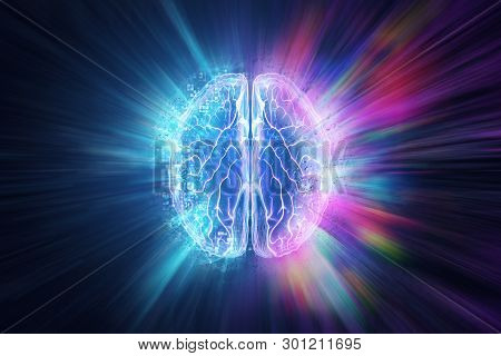 Creative Background, The Human Brain On A Blue Background, The Hemisphere Is Responsible For Logic,