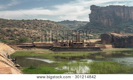 India, The Temple On The Banks Of Agastya Tirtha In Badami