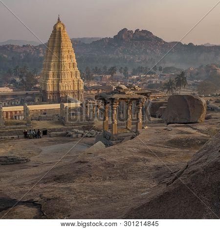 Morning In Hampi On Hemakuta Hill Overlooking The Virupaksha Temple
