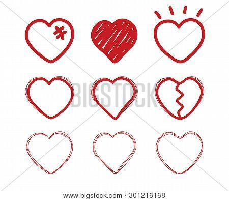 Heart Doodle. Sketch Drawing Love Hearts. Valentine Day Icons. Divorce, End Of The Relationship, Bro