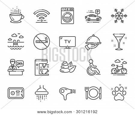Hotel Service Line Icons. Wi-fi, Air Conditioning And Coffee Maker Machine. Spa Stones, Swimming Poo