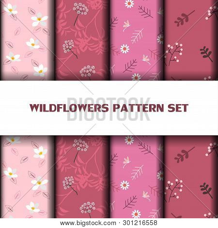 Set Of Beautiful Wildflowers Seamless Pattern On Monotone Pink Color,vector Illustration
