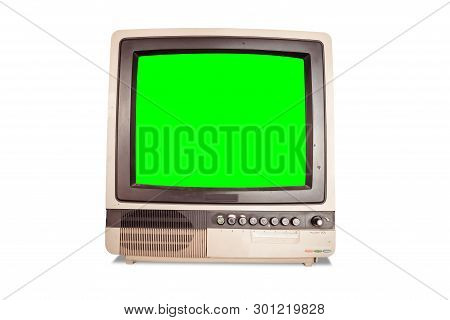 Front View Of Old Retro Home Tv Receiver With Blank Green Screen Isolated On White Background With C