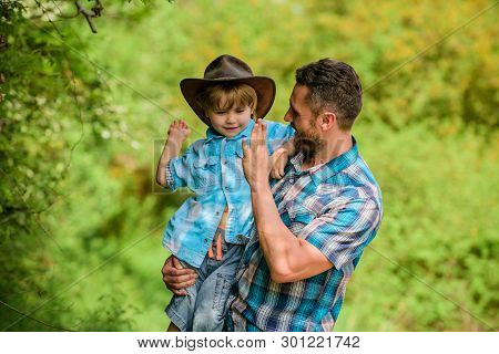 Happy Man Dad In Forest. Human And Nature. Family Day. Happy Earth Day. Eco Farm. Small Boy Child He