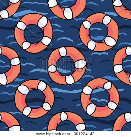 Cute Lifering In The Ocean Cartoon Seamless Vector Pattern.