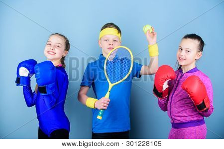 Child Might Excel Completely Different Sport. Sporty Siblings. Girls Kids With Boxing Sport Equipmen