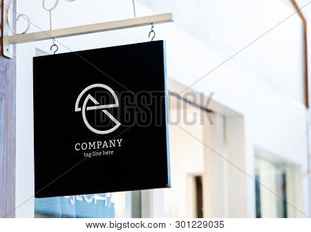 Hanging squre black shop sign mockup