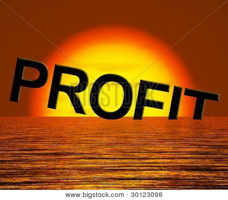 Profit Word Sinking As Symbol for Unprofitable Business And Fail
