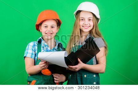 How May I Help You. Small Girls Repairing Together In Workshop. Foreman Inspector. Repair. Labor Day