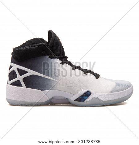 Vienna, Austria - August 10, 2017: Nike Air Jordan Xxx White, Black And Grey Sneaker On White Backgr