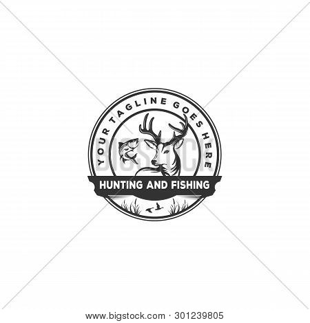 Hunting And Fishing Vector Background , Vintage Idea With Fish, Deer And Duck Illustration