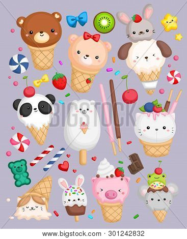 A Vector Of Ice Cream With Animal Shape