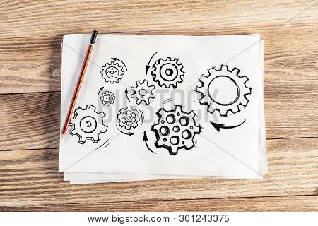 Group Of Rotating Gears Pencil Hand Drawn. Business Concept Of Teamwork. Machine Mechanism With Gear