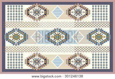 Colorful Ornamental Vector Design For Rug, Carpet, Tapis. Persian, Turkey Rug, Textile. Geometric Fl
