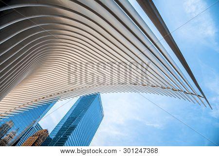New York City, Usa - July 7, 2018; Panorama View Of Manhattan And Westfield Wtc During Summer Daytim