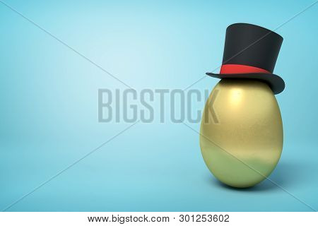 3d Rendering Of Golden Egg Wearing Black Tophat Standing On The Right With Much Copy Space On The Re
