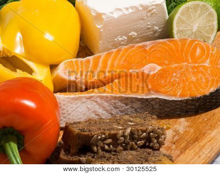 dinner of salmon