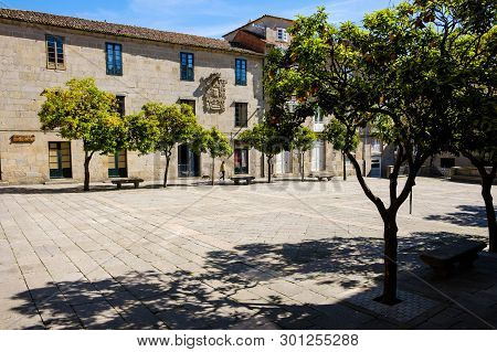 Pontevedra , Spain - May 12, 2019: Calm Morning In The Historical And Wonderful Streets Of The Spani