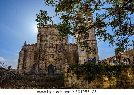 Pontevedra , Spain - May 12, 2019: Tourists And Pilgrims Roam The Streets Where Magnificent Building