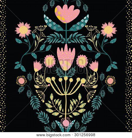 Bohemian Style Pink, Gold Flowers And Teal Leaves. Paper Cut Out Effect On Leaves. Seamless Vector P