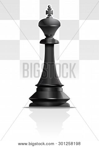 Black Chess King. Chess Piece. Chess King Against The Background Of A Chessboard. Vector Illustratio