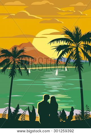 Retro Vintage Style Travel Poster Or Sticker. Tropical Island Paradise Couple Of Lovers Sunset, Ocea