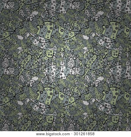 Vector. Doodles Gray, Beige And Black On Colors. Seamless Beautiful Fabric Pattern.
