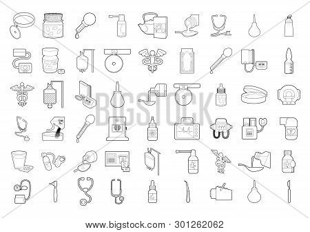 Medical Tools Icon Set. Outline Set Of Medical Tools Icons For Web Design Isolated On White Backgrou