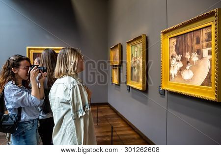 Paris, France - April 20, 2019: Visitors In Museum Orsay. People Looking At Ballet Rehearsal On Stag
