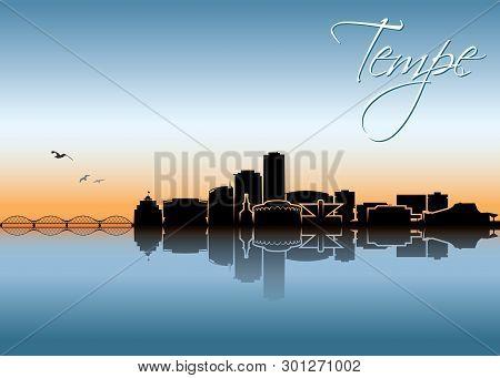 Tempe Skyline - Arizona, United States Of America, Usa - Vector Illustration