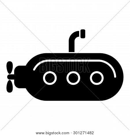 Submarine With Periscope Icon. Simple Illustration Of Submarine With Periscope Icon For Web.