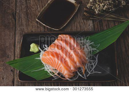 Salmon Sashimi Cut And Slice.