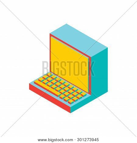 Old Computer Isolated. Outdated Pc. Obsolete Technology. Vector Illustration