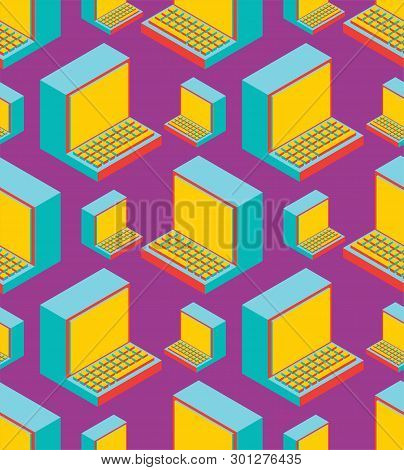 Old Computer Pattern Seamless. Outdated Pc Ornament. Obsolete Technology Texture. Vector Illustratio