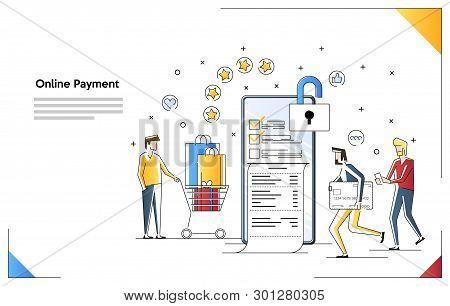 Landing Page Template Of Bills Online. Modern Flat Design Concept Of Pay Bills Tax Online Receipt Vi