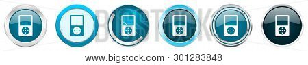 Multimedia player silver metallic chrome border icons in 6 options, set of web blue round buttons isolated on white background