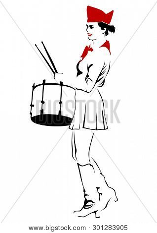 Young drummer in form of the Soviet pioneer on a white background