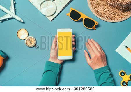 Smartphone Mock Up In Summertime Holiday Vacation Concept, Woman Holding Mobile Phone With Blank Scr