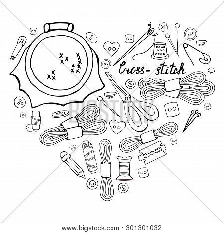 Set Of Hand Drawn Black And White Elements For Cross-stich In Heart Shape On White Background