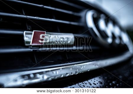 Uzhgorod, Ukraine - May 15, 2019: Audi S-line Car Emblem Closeup On The Grille. S-line Luxury Lineup