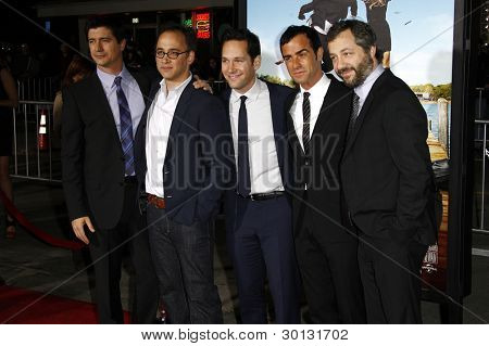 LOS ANGELES, CA - FEB 16: Ken Marino, David Wain, Paul Rudd, Justin Theroux,  Judd Apatow at the premiere of 'Wanderlust' held at Mann Village Theatre on February 16, 2012 in Los Angeles, California